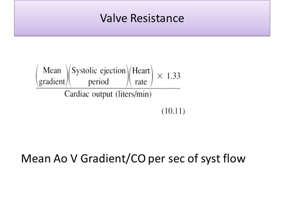 Valve Resistance Mean Ao V Gradient/CO per sec of syst flow
