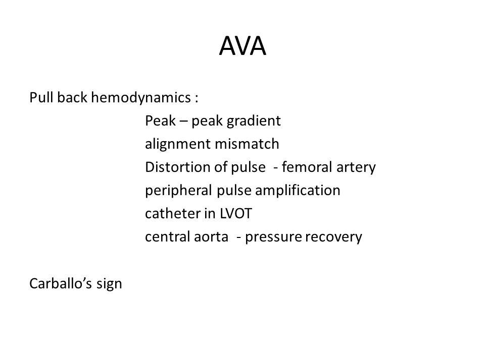 AVA Pull back hemodynamics : Peak – peak gradient alignment mismatch