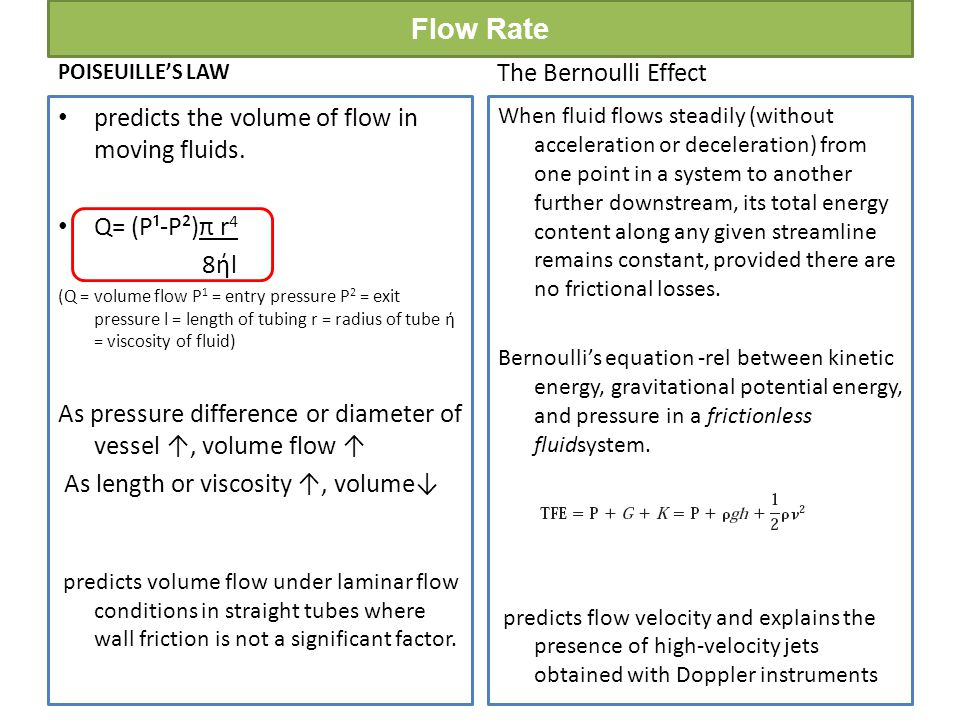 Flow Rate The Bernoulli Effect