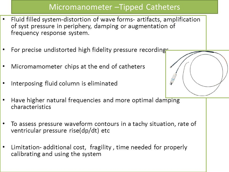 Micromanometer –Tipped Catheters