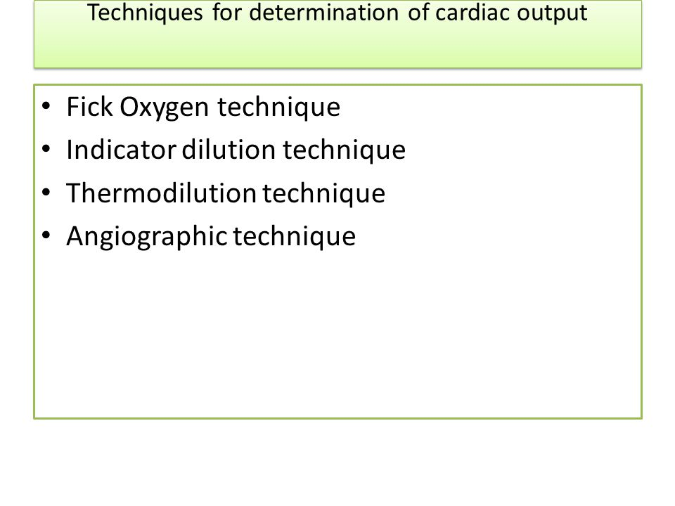 Techniques for determination of cardiac output