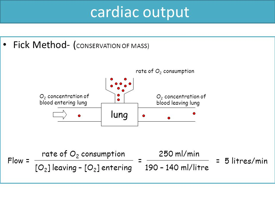 cardiac output Fick Method- (CONSERVATION OF MASS) lung Flow =