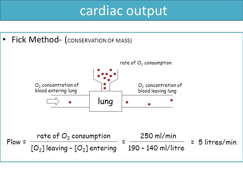 cardiac output Fick Method- (CONSERVATION OF MASS) lung Flow =