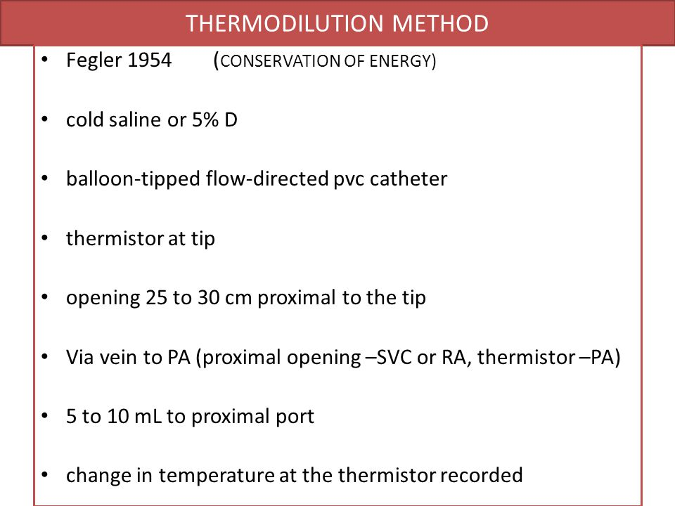 THERMODILUTION METHOD