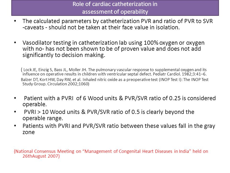 Role of cardiac catheterization in assessment of operability