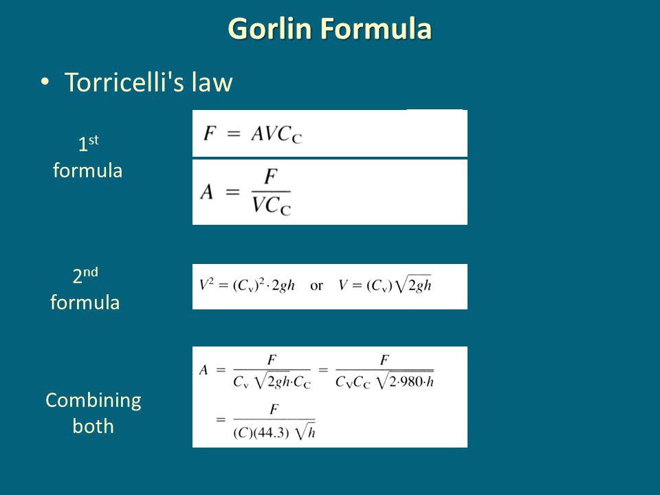 Gorlin Formula Torricelli s law 1st formula 2nd formula Combining both