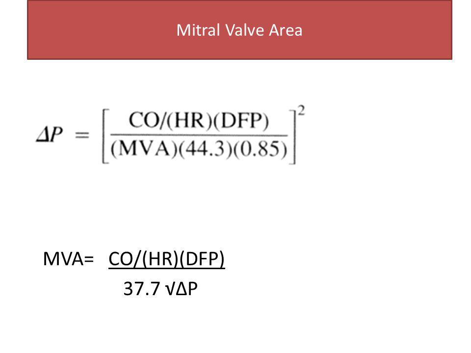 Mitral Valve Area MVA= CO/(HR)(DFP) 37.7 √∆P