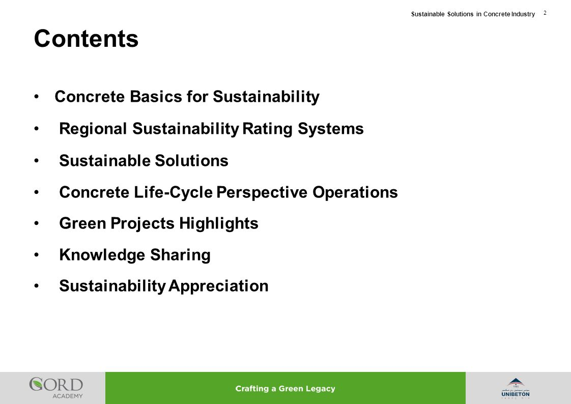 Contents Concrete Basics for Sustainability