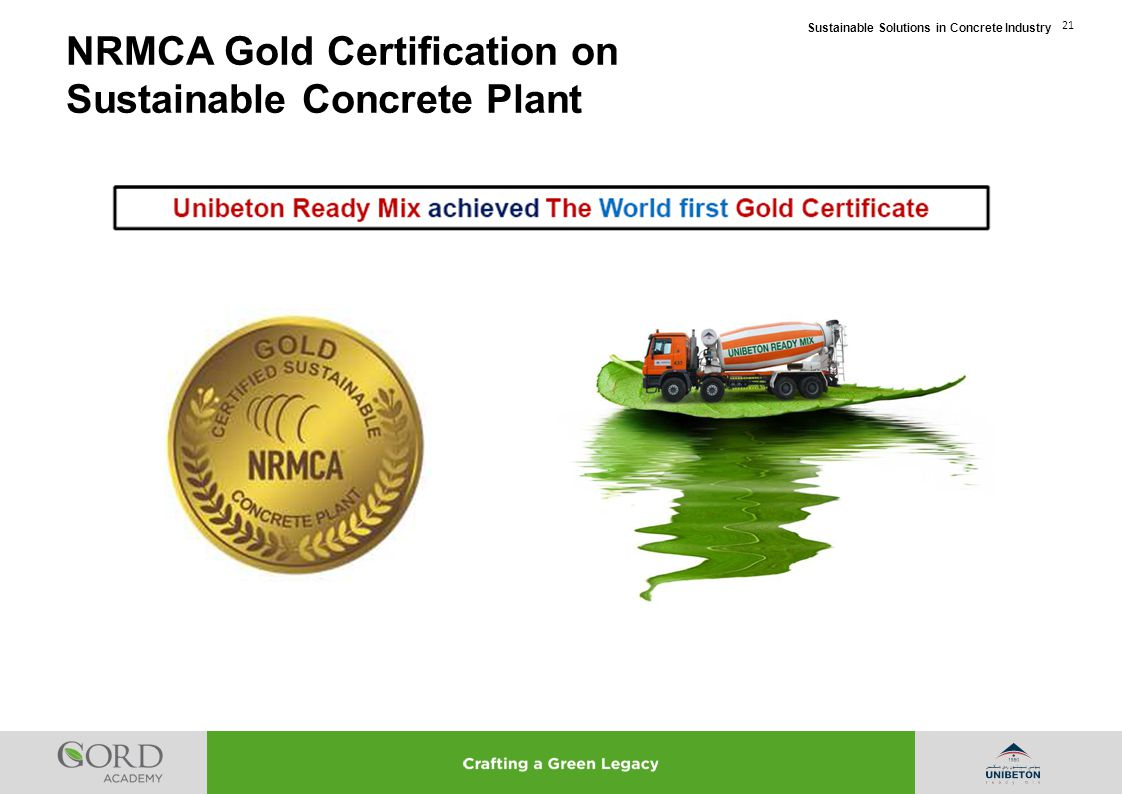 NRMCA Gold Certification on Sustainable Concrete Plant