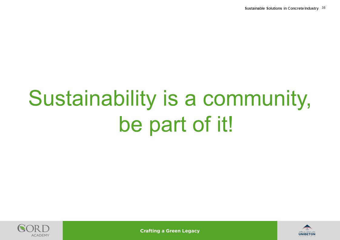 Sustainability is a community, be part of it!