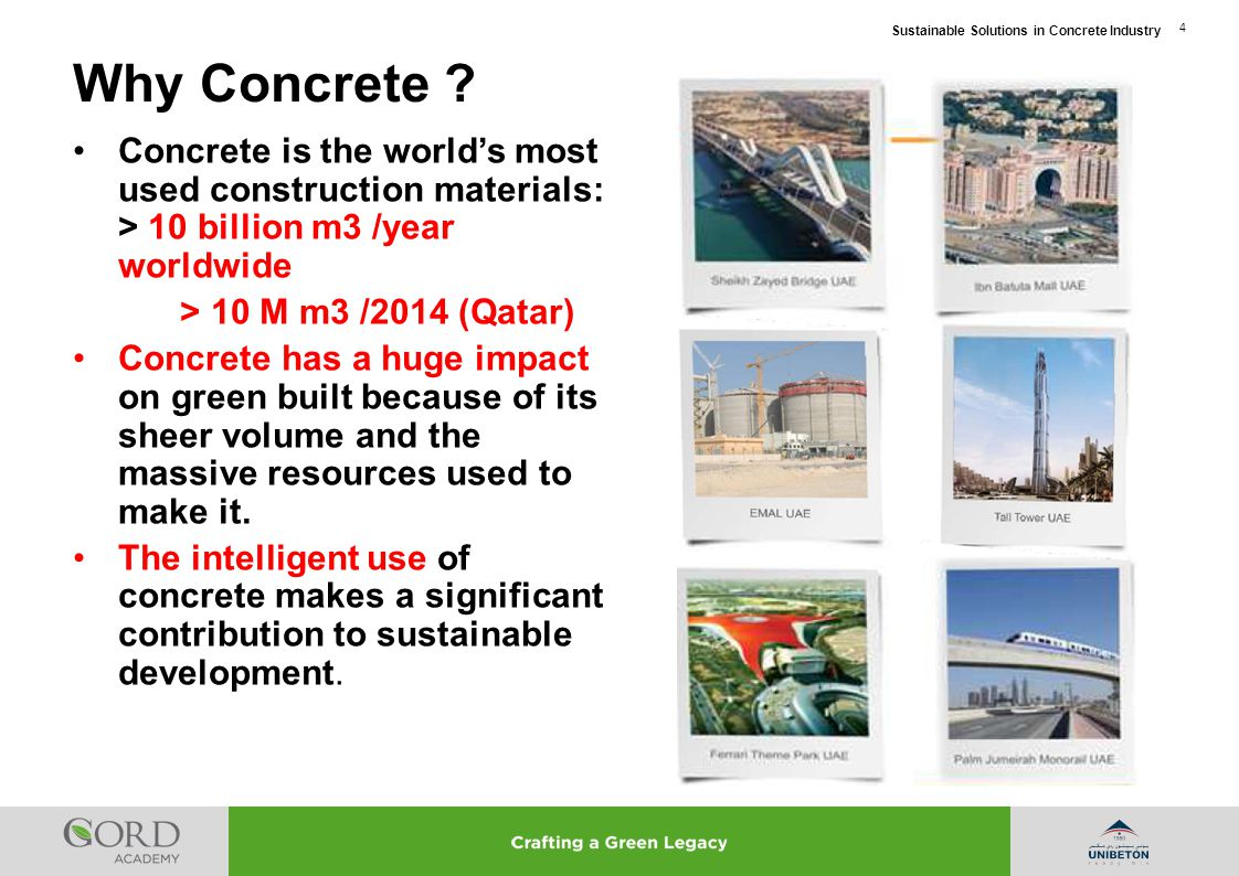 Why Concrete Concrete is the world's most used construction materials: > 10 billion m3 /year worldwide.