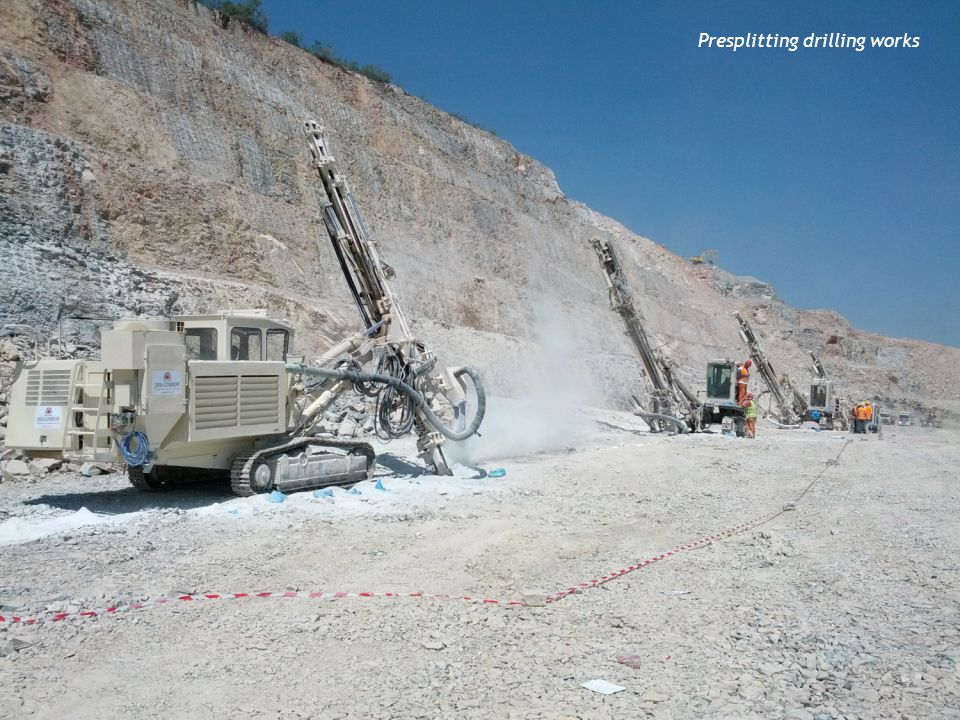 Presplitting drilling works