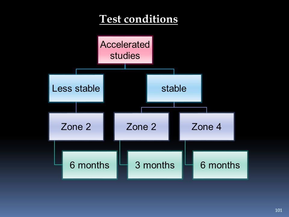 Test conditions Accelerated studies Less stable Zone 2 6 months stable