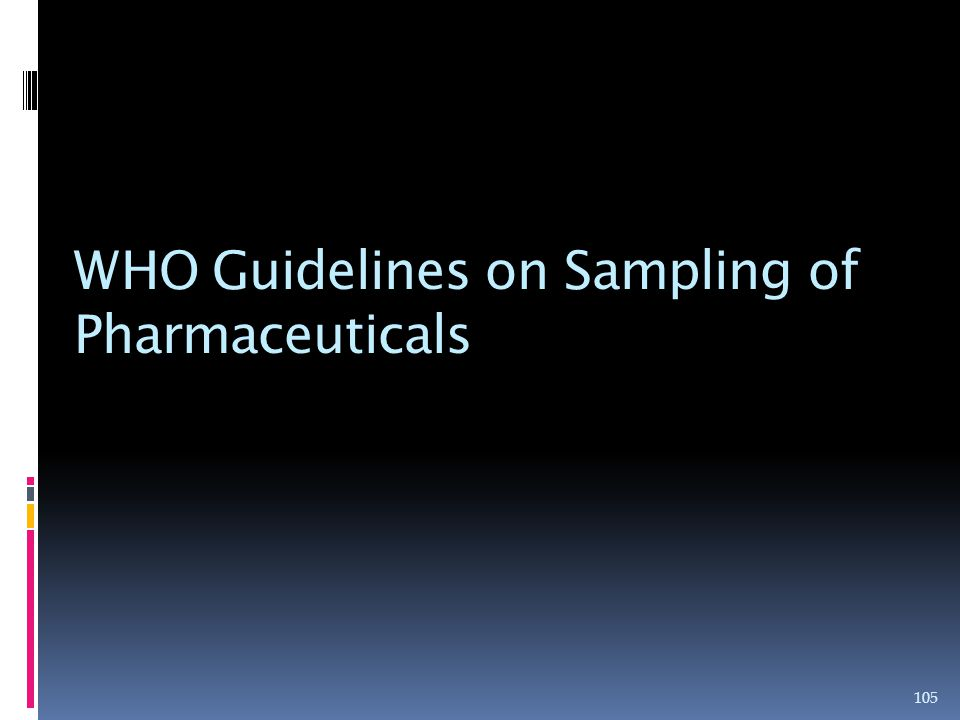 WHO Guidelines on Sampling of Pharmaceuticals