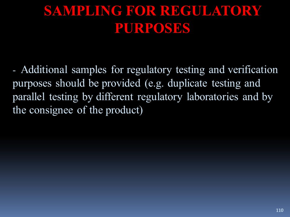 SAMPLING FOR REGULATORY