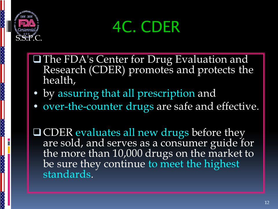S.S.P.C. 4C. CDER. The FDA s Center for Drug Evaluation and Research (CDER) promotes and protects the health,