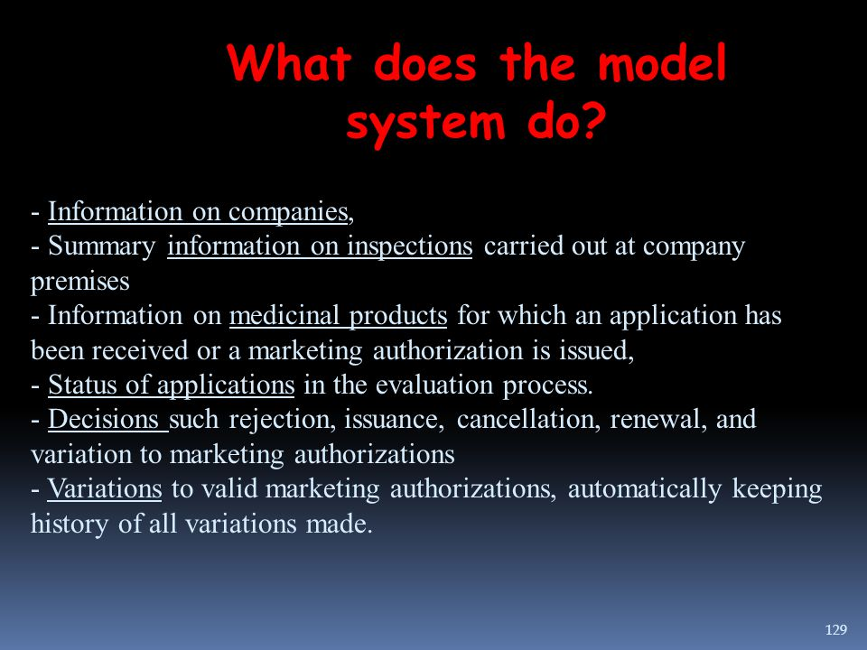 What does the model system do