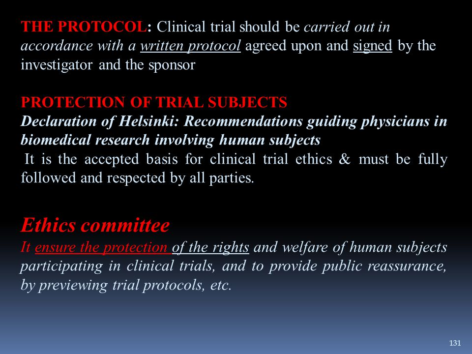 THE PROTOCOL: Clinical trial should be carried out in accordance with a written protocol agreed upon and signed by the investigator and the sponsor