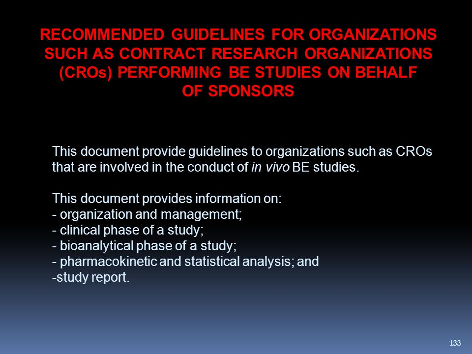 RECOMMENDED GUIDELINES FOR ORGANIZATIONS