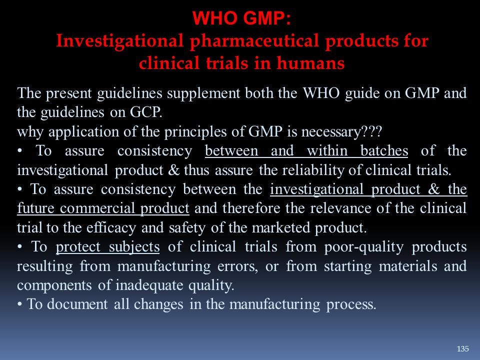 Investigational pharmaceutical products for clinical trials in humans