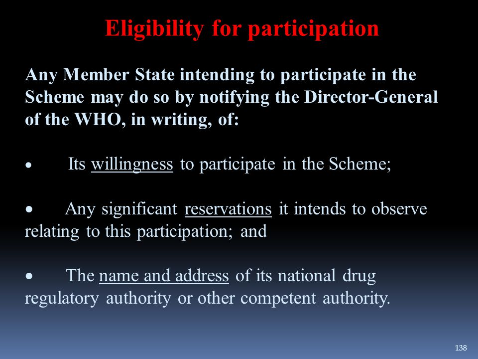 Eligibility for participation