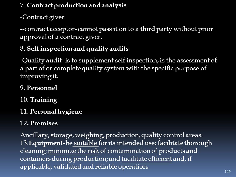 7. Contract production and analysis