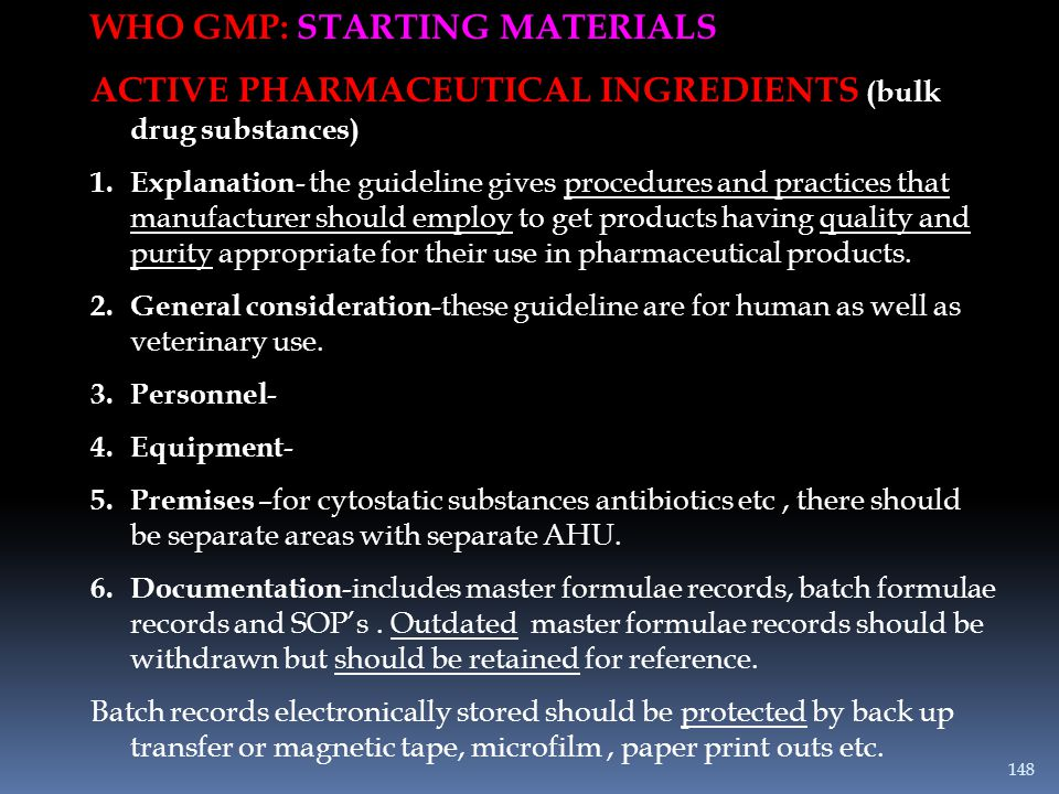 WHO GMP: STARTING MATERIALS