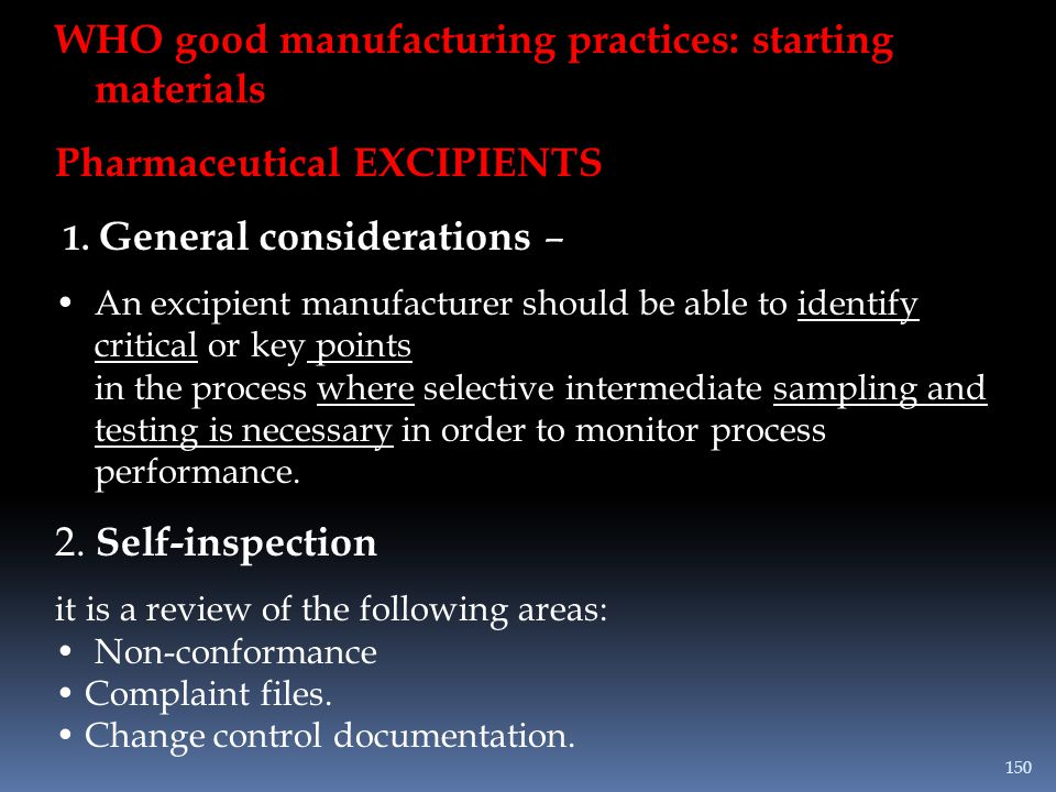 WHO good manufacturing practices: starting materials