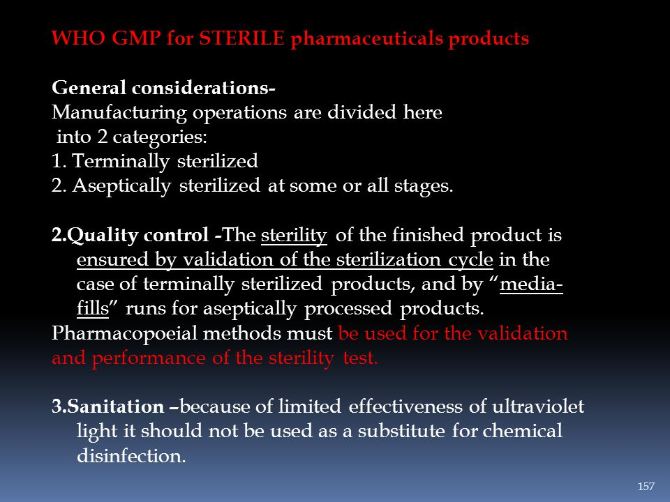 WHO GMP for STERILE pharmaceuticals products
