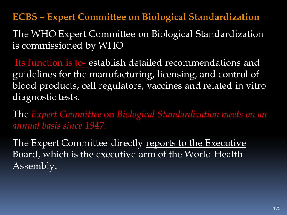 ECBS – Expert Committee on Biological Standardization