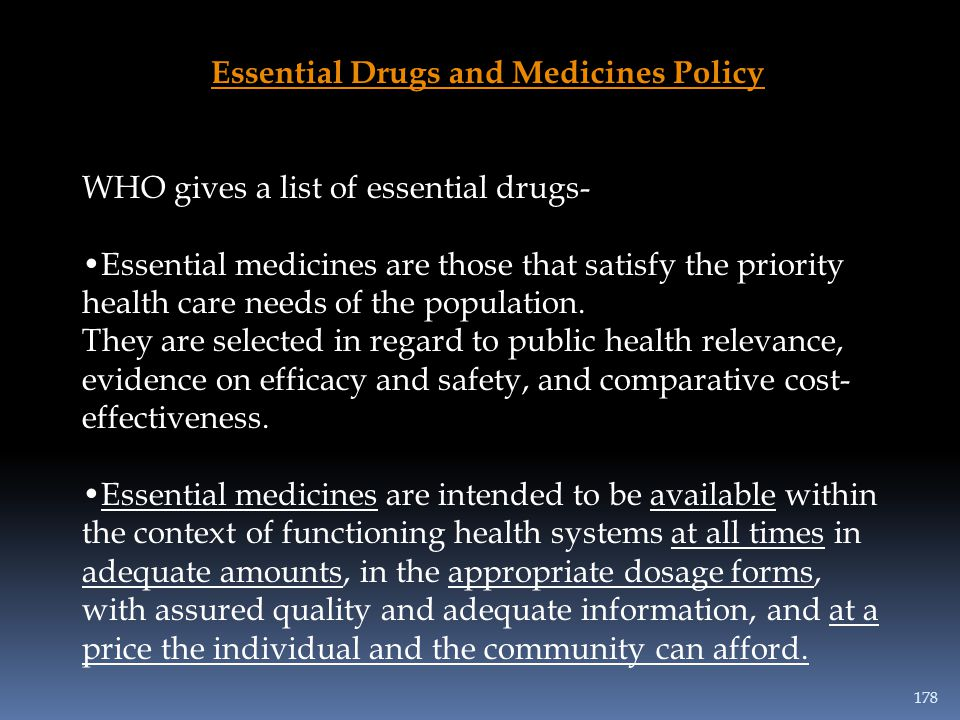 Essential Drugs and Medicines Policy