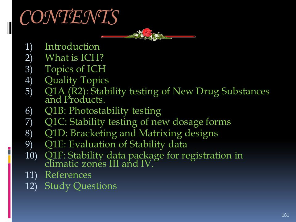CONTENTS Introduction What is ICH Topics of ICH Quality Topics