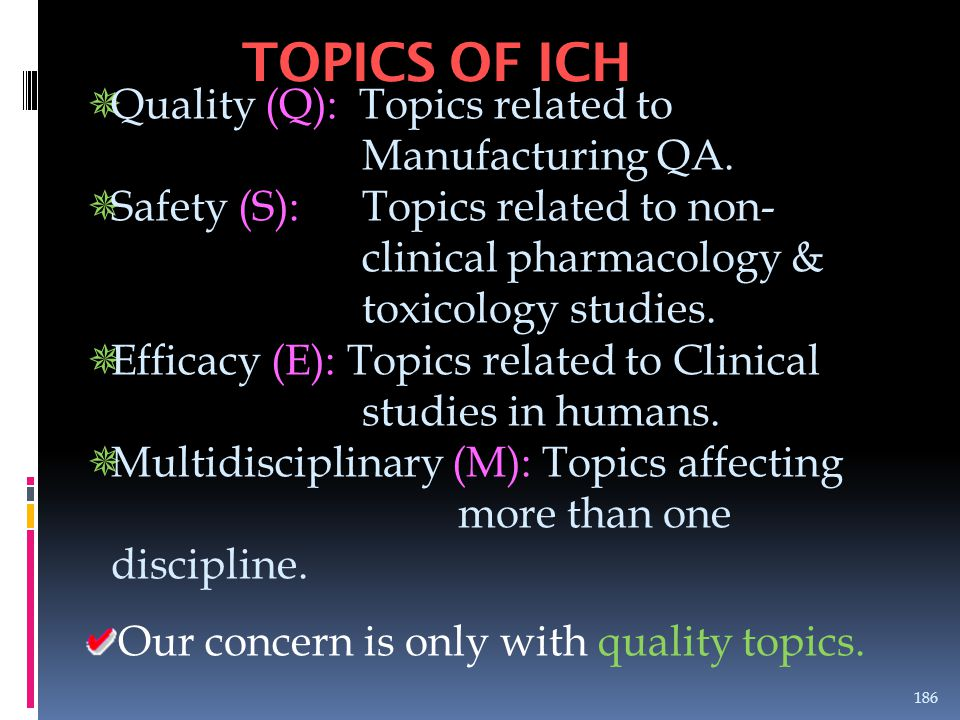 TOPICS OF ICH Quality (Q): Topics related to Manufacturing QA.