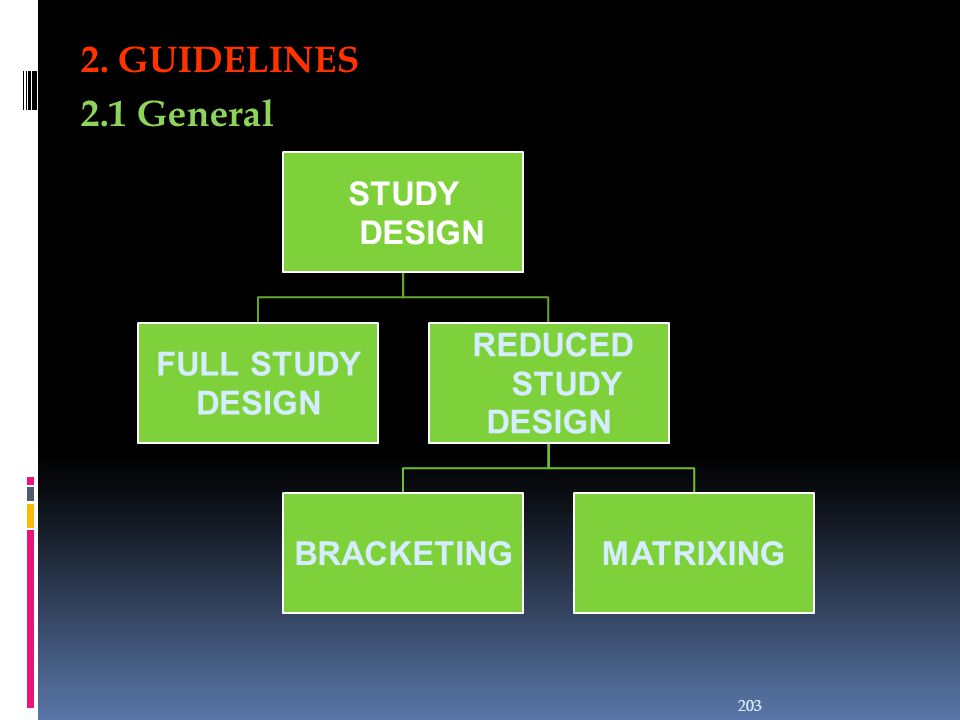 2. GUIDELINES 2.1 General STUDY DESIGN FULL STUDY DESIGN REDUCED STUDY