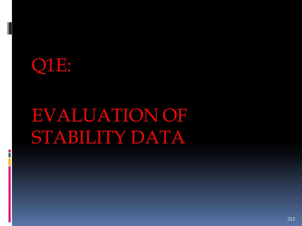 EVALUATION OF STABILITY DATA