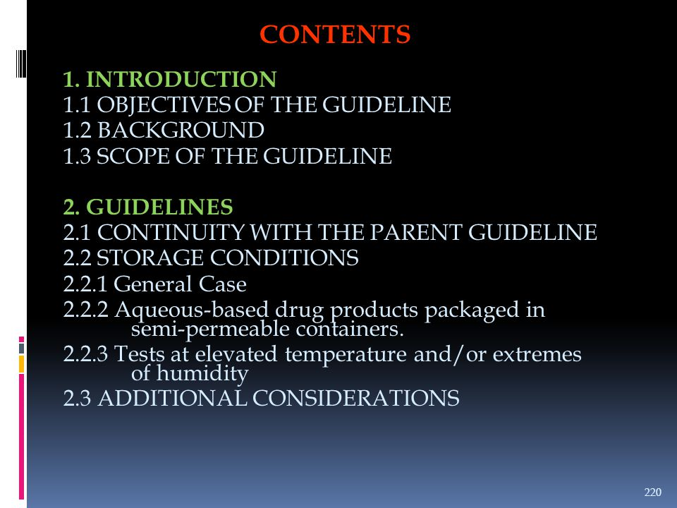 CONTENTS 1. INTRODUCTION 1.1 OBJECTIVES OF THE GUIDELINE