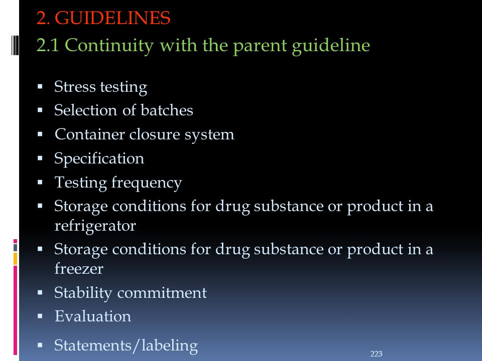 2.1 Continuity with the parent guideline