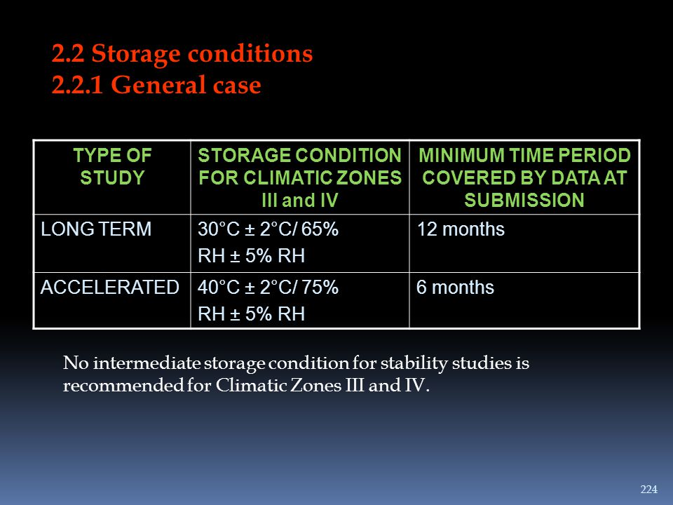 2.2 Storage conditions 2.2.1 General case TYPE OF STUDY