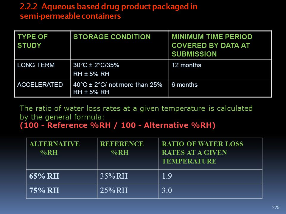 2.2.2 Aqueous based drug product packaged in semi-permeable containers