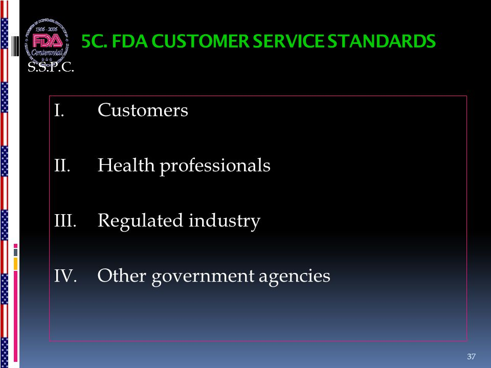 5C. FDA CUSTOMER SERVICE STANDARDS