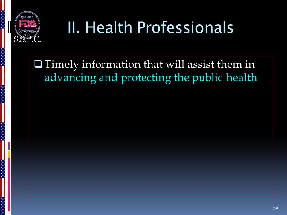 II. Health Professionals