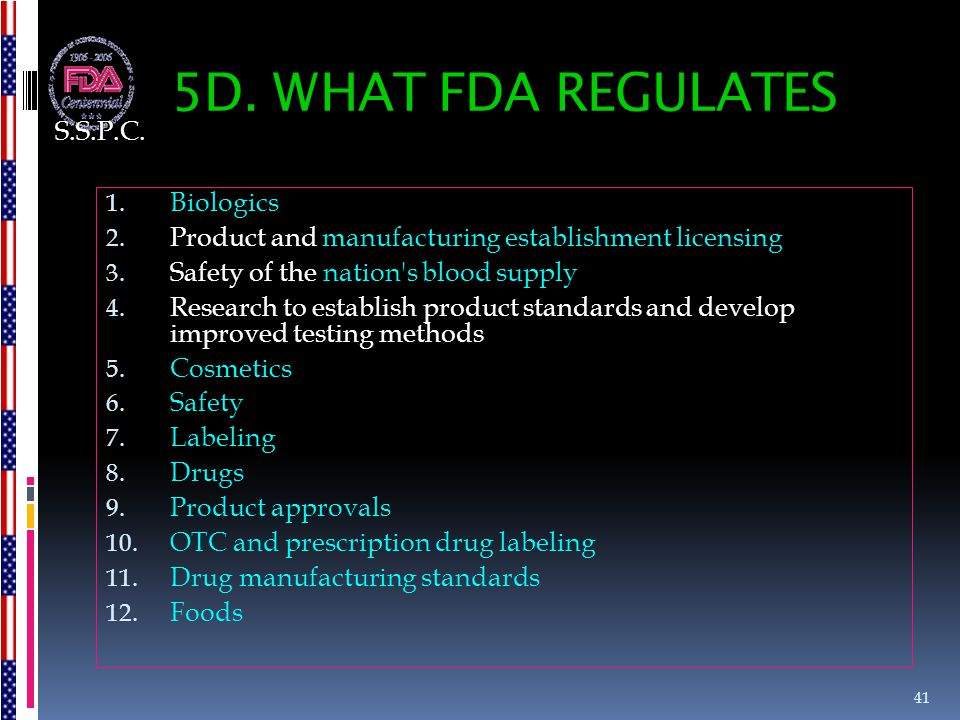 5D. WHAT FDA REGULATES S.S.P.C. Biologics