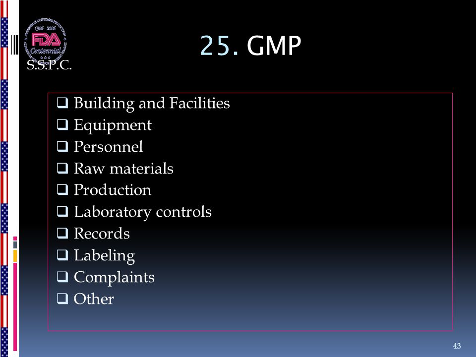 25. GMP Building and Facilities Equipment Personnel Raw materials