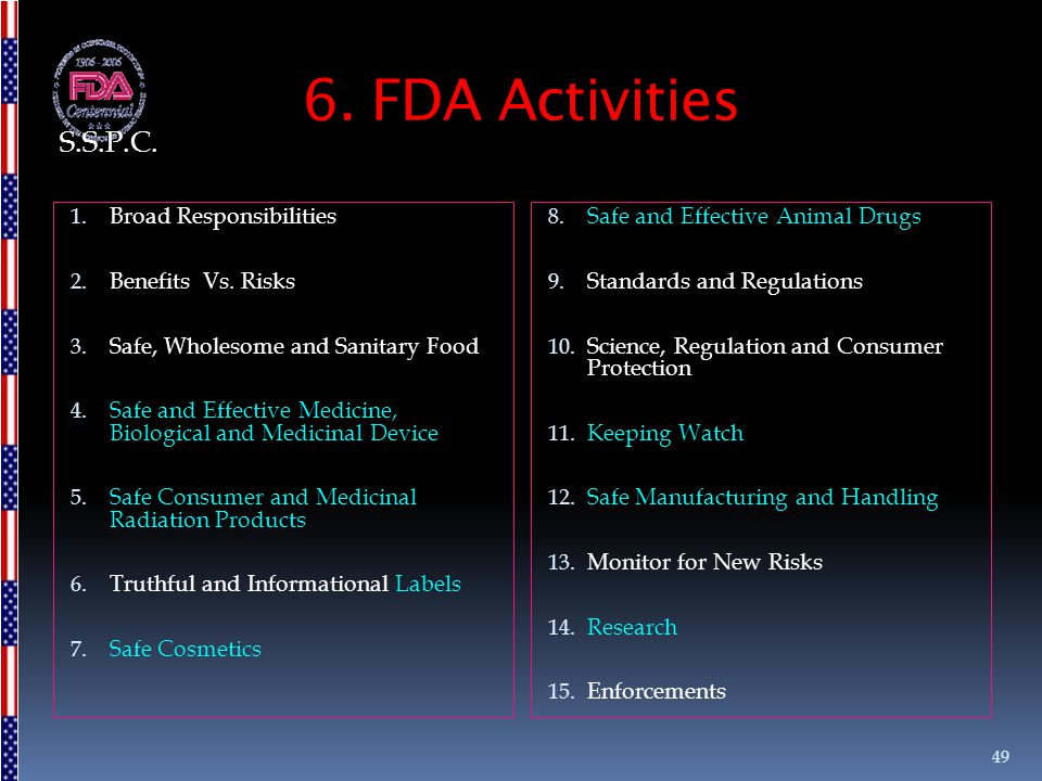 6. FDA Activities S.S.P.C. Broad Responsibilities Benefits Vs. Risks