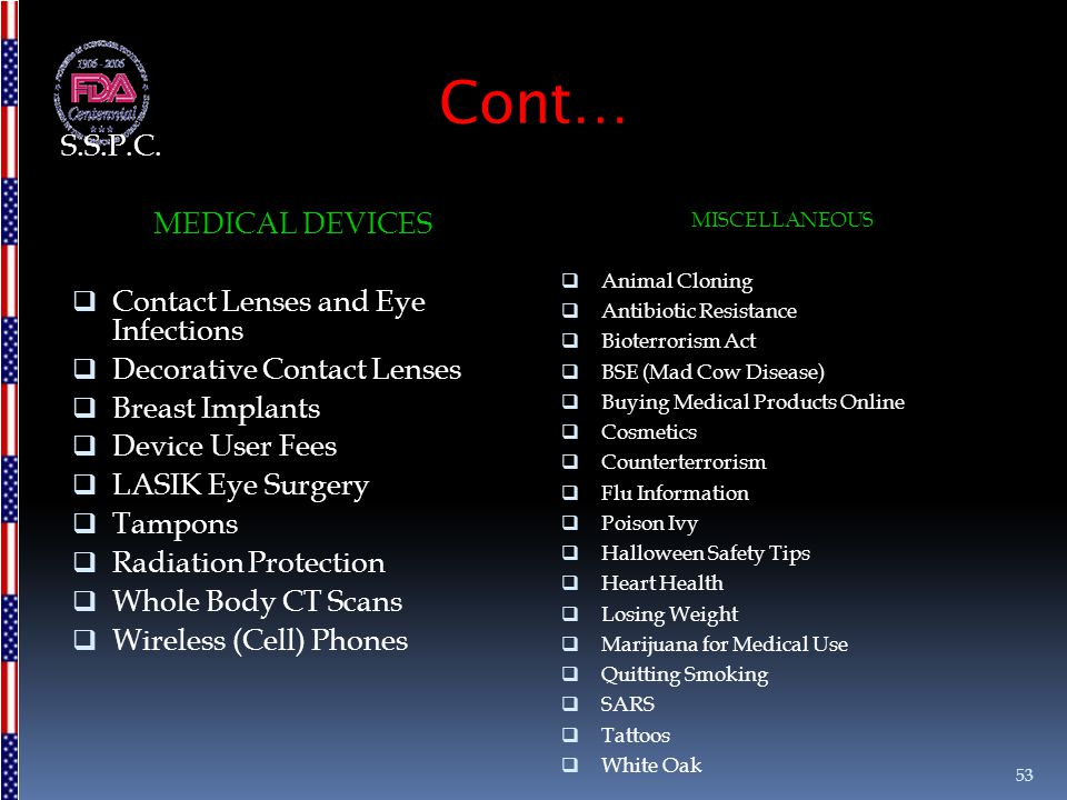 Cont… S.S.P.C. MEDICAL DEVICES Contact Lenses and Eye Infections