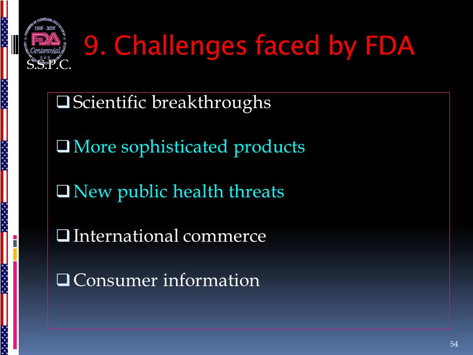 9. Challenges faced by FDA