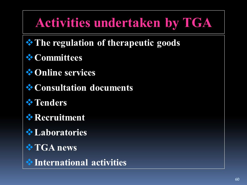 Activities undertaken by TGA