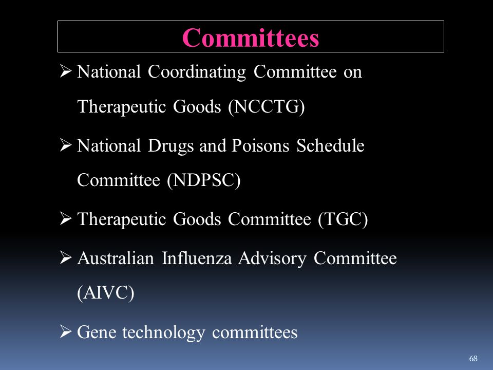 Committees National Coordinating Committee on Therapeutic Goods (NCCTG) National Drugs and Poisons Schedule Committee (NDPSC)