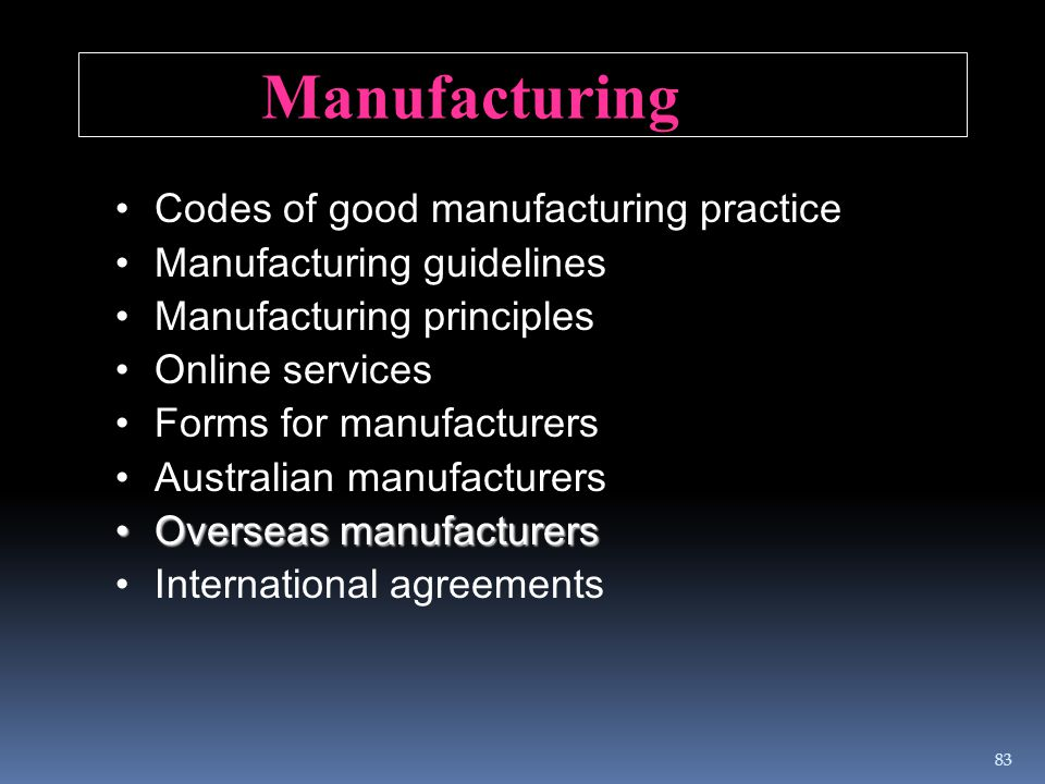 Manufacturing Codes of good manufacturing practice