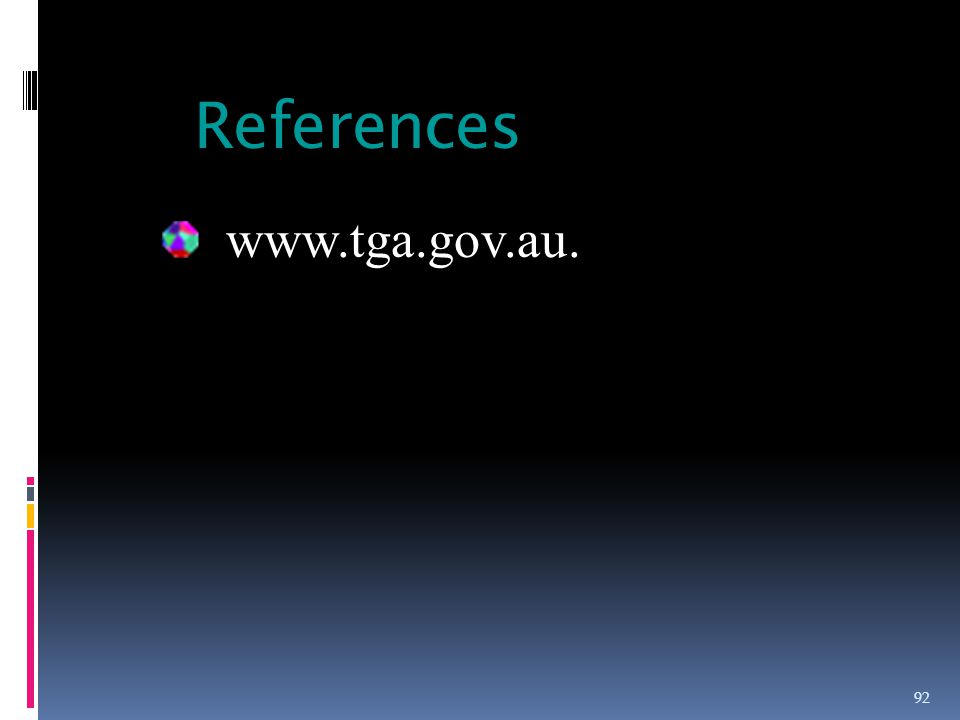 References www.tga.gov.au.